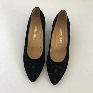 Bottega veneta suede black & navy blue print heel